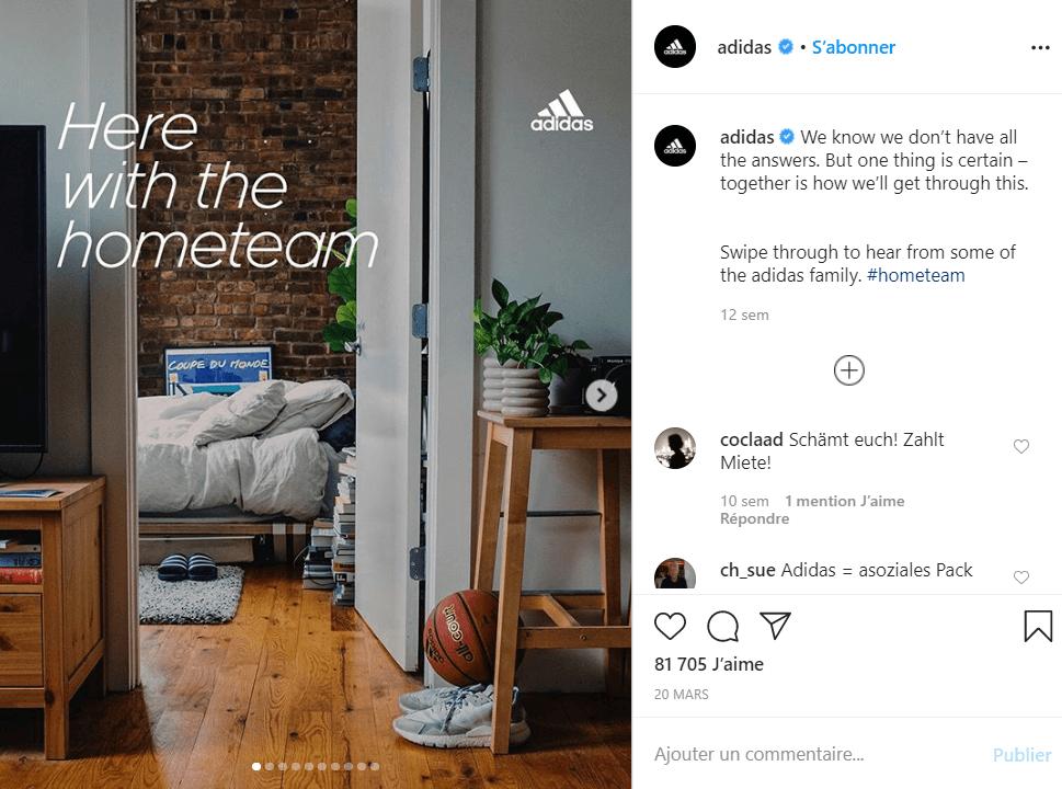 utiliser hashtags sur instagram hashtag stayathome confinement adidas