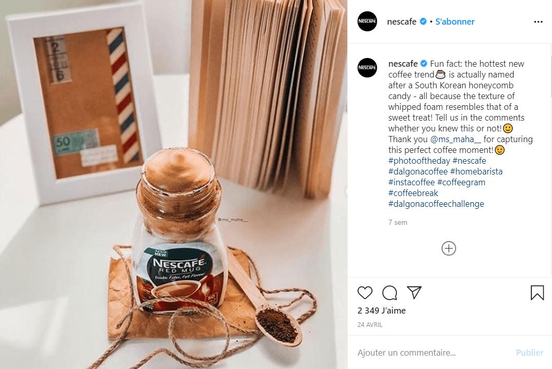 hashtag sur instagram comment ca marche challenge dalgona coffee nescafe